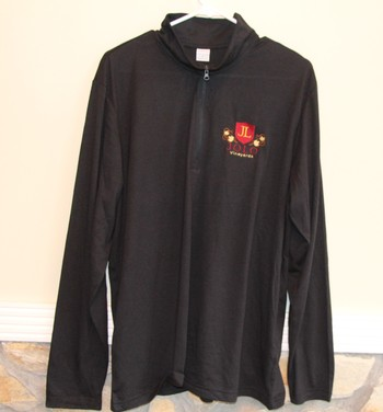 Pull-Over Long Sleeve Black Zip With Logo Large