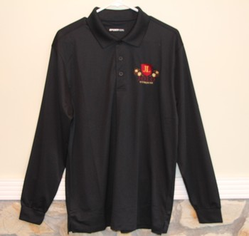 Shirt Polo Long Sleeve Black With Imprint 3 Button Medium